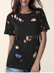 Fashionable Women's Round Neck Short Sleeve Hole Design T-Shirt
