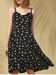 Stylish Strappy Floral Print Midi Dress For Women - BLACK