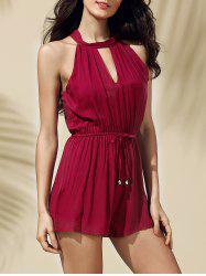 Stylish Keyhole Neckline Solid Color Romper For Women
