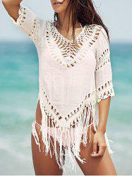Chic V-Neck Crochet Pattern 3/4 Sleeve Cover-Up For Women