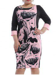 Casual Plus Size Jewel Neck Printed 3/4 Sleeve Shift Dress For Women -