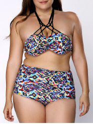 Fashionable High-Waisted Plus Size Multicolor Print Women's Bikini Set