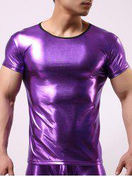 Slimming Round Collar Hot Stamping Solid Color T-Shirt For Men