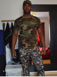 Slimming Fit Camo Short Sleeves Round Collar T-Shirt For Men