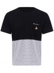 Vogue Round Neck Zipper Color Block Stripes Spliced Short Sleeves T-Shirt For Men -
