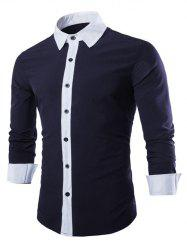Laconic Turn-down Collar Color Block Top Fly Long Sleeves Shirt For Men -