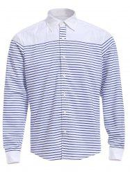 Refreshing Turn-down Collar Color Block Long Sleeves Striped Shirt For Men