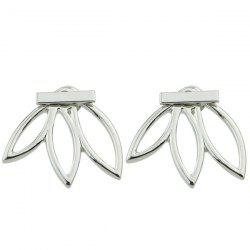 Pair of Alloy Hollow Out Leaf Stud Earrings -