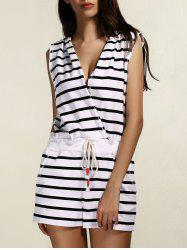 V Neck Sleeveless Striped Hooded Romper -