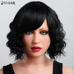 Elegant Side Bang Capless Siv Hair Fluffy Curly Short Haircut Human Hair Wig For Women - JET BLACK