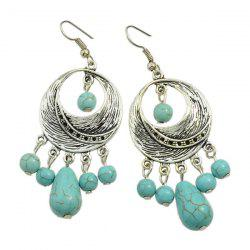 Pair of Bohemian Faux Turquoise Moon Earrings - SILVER
