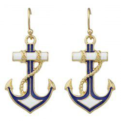 Pair of Retro Anchor Drop Earrings - GOLDEN