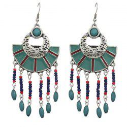 Pair of Retro Geometric Beads Drop Earrings