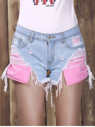 Ripped High Cut Denim Shorts - DENIM BLUE