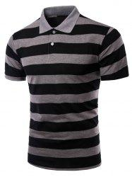 Striped Turn-down Collar Short Sleeves Polo Shirt For Men