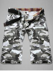 Trendy Loose Fit Men's Multi-Pockets Camo Printed Cargo Shorts - WHITE 34