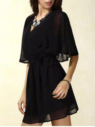 Stylish V-Neck Short Sleeve Lace Splicing Wrap Dress For Women -