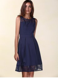 Trendy Round Neck Sleeveless Lace Spliced Solid Color Women's Dress - PURPLISH BLUE S