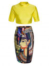 Round Neck Crop Top and Graphic Bodycon Skirt -