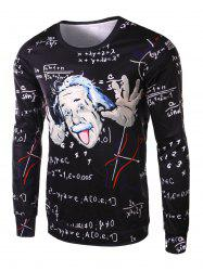 Fashion Slimming Round Neck 3D Mathematician Pattern Long Sleeve Polyester T-Shirt For Men -
