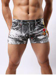 Comfortable Non-Trace Men's Low Waist Motor Racing Printed Boxer Briefs - COLORMIX