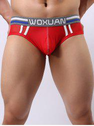 Breathable Low Waist Letter Printed U Convex Pouch Hip Briefs For Men - RED