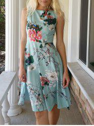 Vintage Jewel Neck Sleeveless Floral Print Belted A-Line Tea Dress For Women - LAKE GREEN