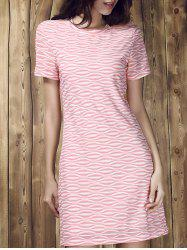 Round Collar Stripe Short Sleeve Dress