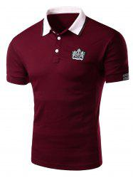 Applique Stripe Trim Polo T-Shirt - DARK RED