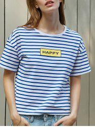 Casual Striped Letter Print Women's T-Shirt -