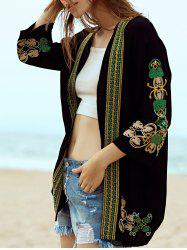 Casual Open Front Embroidered Women's Sunscreen Blouse -