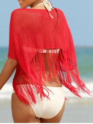 Trendy Scoop Neck Fringed Openwork Women's Cover-Up -