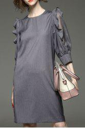 Ruffled Sleeve Solid Color Dress -