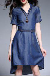 High Low Hem Chambray Belted Dress -