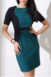Round Collar Color Block OL Dress -