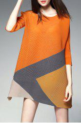 Color Block Mini Trapeze Dress - ORANGE