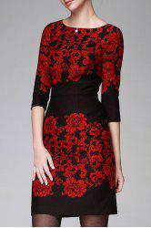 Floral Pattern Bodycon 3/4 Sleeve Dress -