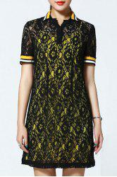 Polo Collar Lace Dress and Tank Top Twinset -
