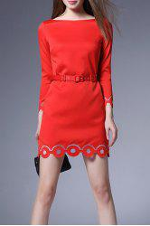 Slash Neck Solid Color Belted Dress -