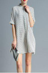 Stand Neck Half Sleeve Striped Shirt Dress -
