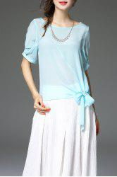 Scoop Neck Candy Color Bowknot Blouse -