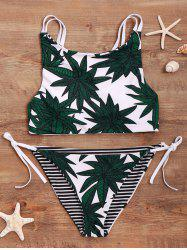 High-Neck Leaf Print Bikini Set -