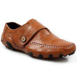 Stylish Stitching and Button Design Casual Shoes For Men - BROWN