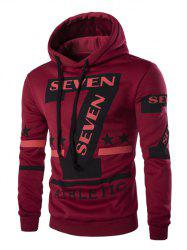 Fashion Hooded Letters Star Stripes Print Long Sleeves Hoodie For Men - RED