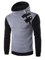 Inclined Zipper Color Block Hooded Long Sleeves Hoodie For Men