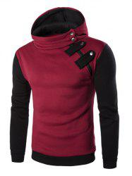 Inclined Zipper Color Block Hooded Long Sleeves Hoodie For Men - RED