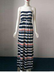 Striped Drawstring Strapless Tube Maxi Dress