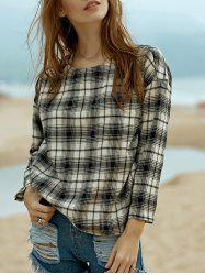 Preppy Style Plaid Long Sleeve Women's Top