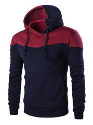 IZZUMI Classic Color Block Front Pocket Hooded Long Sleeves Hoodie For Men -