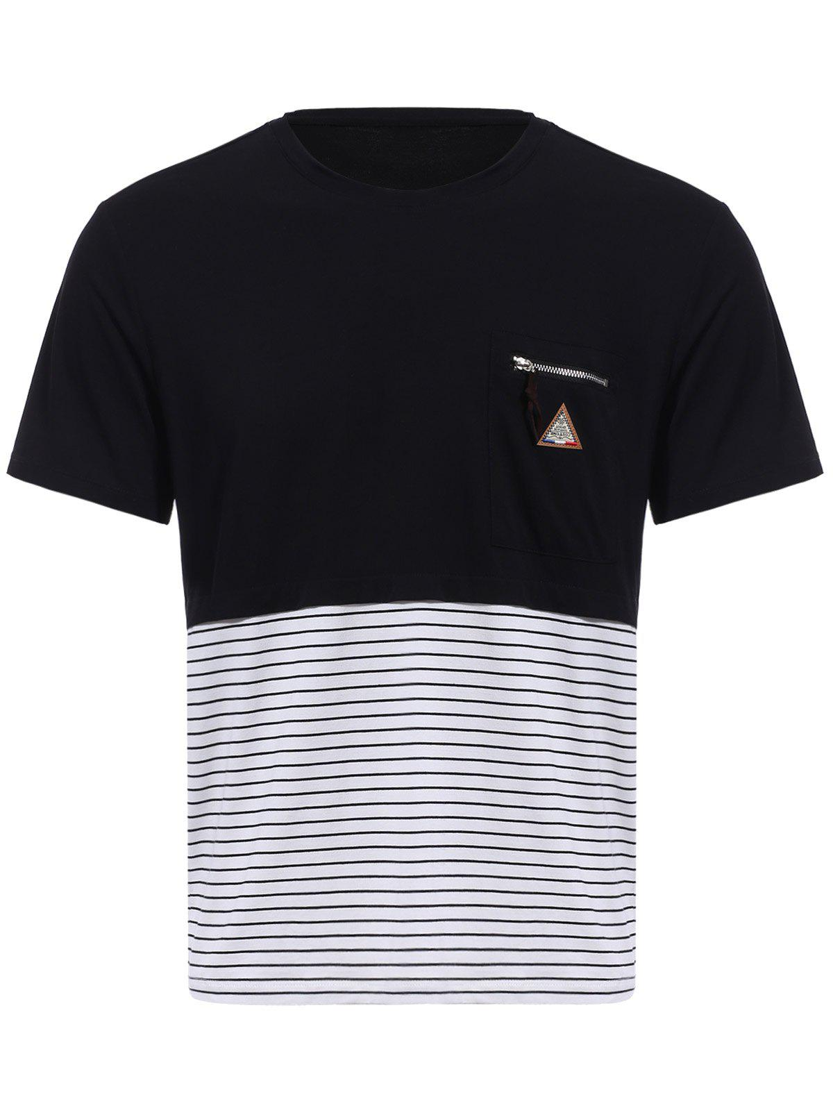 Chic Vogue Round Neck Zipper Color Block Stripes Spliced Short Sleeves T-Shirt For Men
